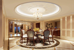 欧式风格餐厅圆形吊顶装修效果图