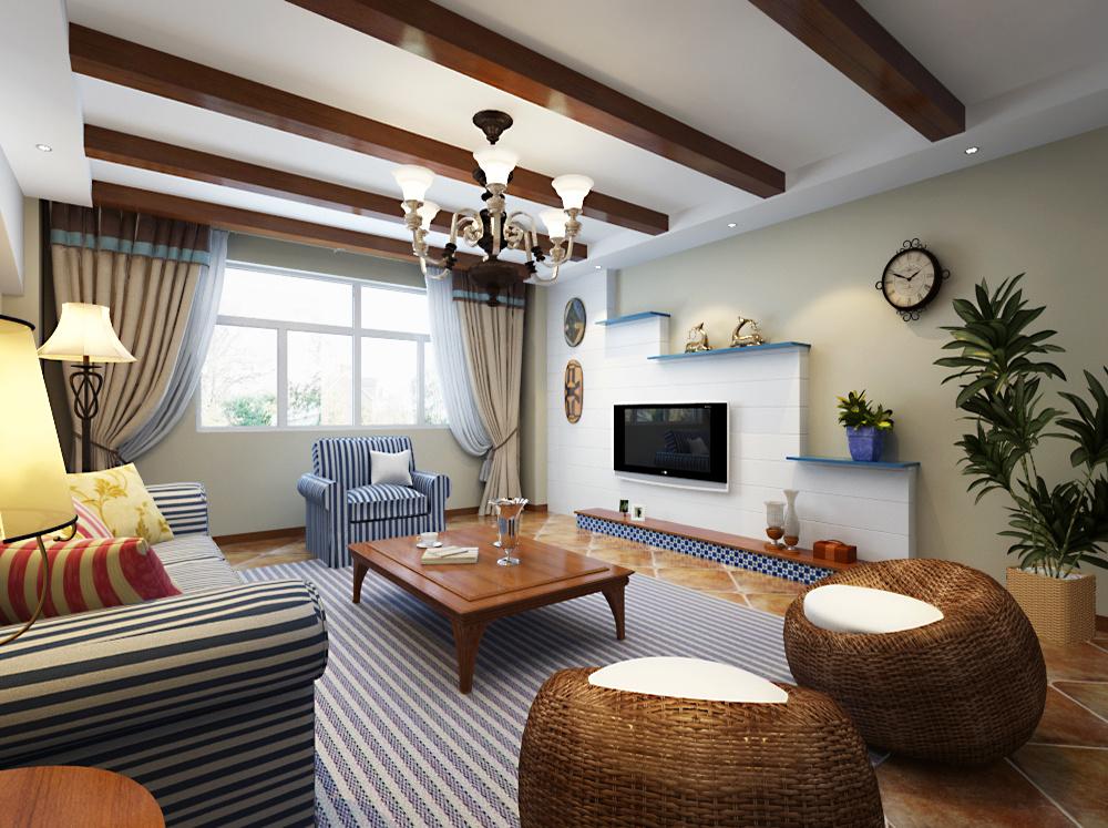 地中海风格木质组合客厅吊顶装修效果图