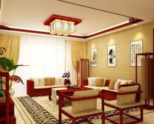 90平米中式风格客厅窗帘效果图
