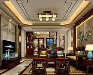 90平米现代中式客厅装修效果图