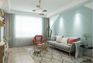 现代薄荷绿客厅装修效果图