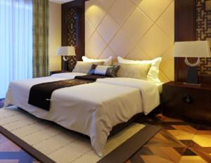 现代中式风格卧室背景墙装修设计效果图