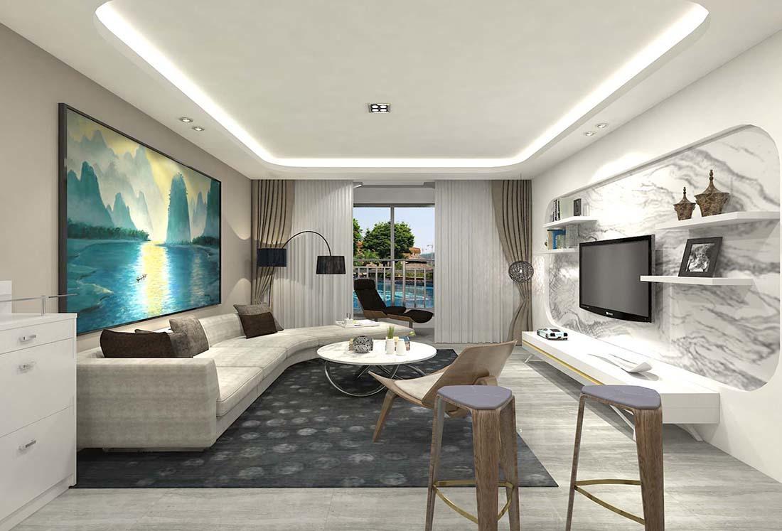 现代简约客厅吊顶装修效果图