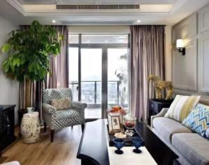 90平米美式风格客厅窗帘装修设计效果图
