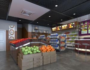 现代工业风格水果店装修设计效果图