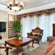 现代美式客厅窗帘装修设计效果图