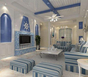 将客厅装修成地中海风格,采用蓝色调和白色调搭配,墙面采用木板式样的装饰,如同居住在海边的小木屋,极具浪漫主义情怀。