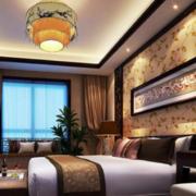 现代中式卧室背景墙装修效果图赏析