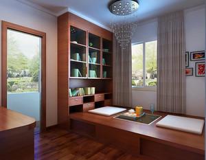 榻榻米和床柜一体的装饰设计,整体上节省了房间面积,对于小户型卧室或者是书房来说,这样的设计再巧妙不过。案例选择红褐色榻榻米和收纳柜,搭配地面同色调地板,整个房间装饰方面十分丰富,和谐统一。