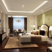 三居室美式风格卧室背景墙装修设计效果图