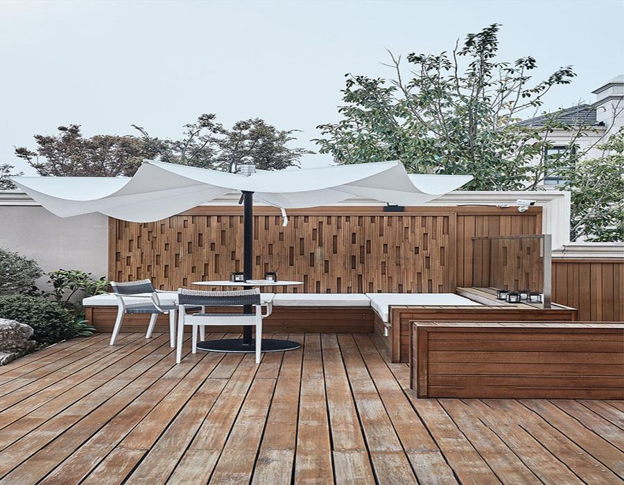 轻奢混搭豪宅花园设计实景图