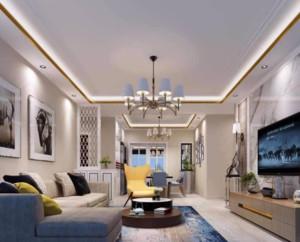 90平米现代客厅吊顶装修设计效果图