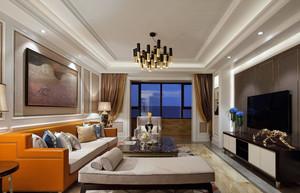新古典风格方形客厅吊顶效果图