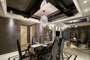 新古典深色系餐厅吊顶装修效果图