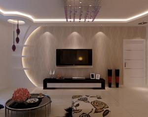 90平米现代简约客厅背景墙装修设计效果图