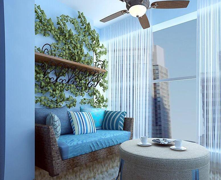 90平米地中海风格阳台装修设计效果图