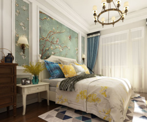90平米现代美式卧室背景墙装修效果图