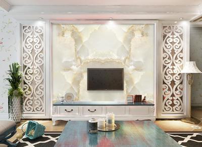 大理石质感客厅电视背景墙装修