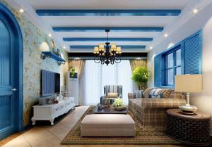 地中海风格客厅窗帘设计效果图