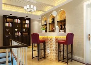 三居室简约风格酒柜装修设计效果图