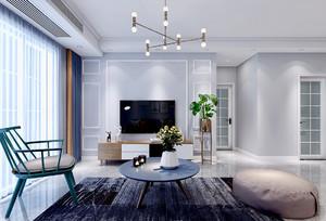 冷色调现代客厅装修效果图