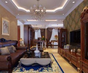 美式风格客厅吊顶装修设计效果图