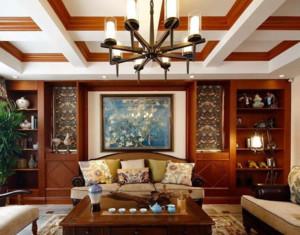 现代美式客厅吊灯装修效果图