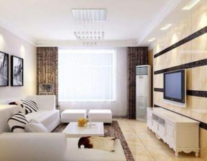 90平米现代简约客厅窗帘装修效果图