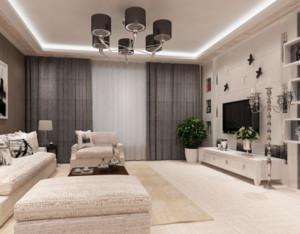 大户型现代简约客厅窗帘装修设计效果图赏析