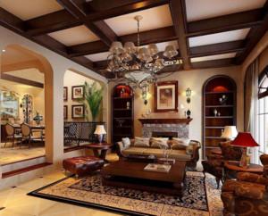 美式风格客厅吊灯装修效果图赏析