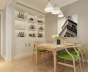 三居室清新风格酒柜装修设计效果图