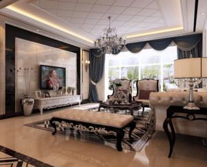 现代美式风格客厅窗帘装修效果图赏析