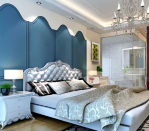 现代地中海风格卧室背景墙装修效果图