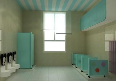 清新风格幼儿园卫生间装修效果图