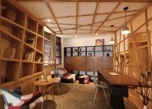 现代原木风阁楼书房装修效果图