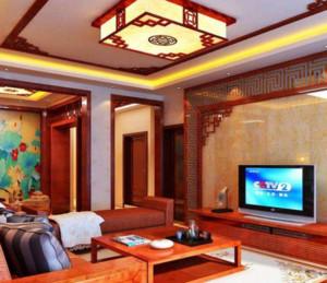 80平中式风格客厅吊顶装修效果图