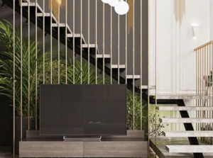 现代简约风格楼梯兼电视墙一体装修效果图