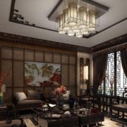 70平现代中式风格客厅吊顶装修效果图