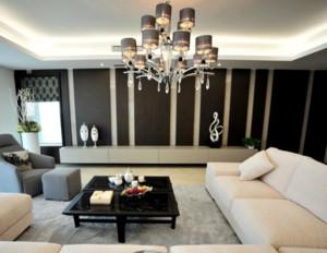 现代简约客厅吊灯装修效果图