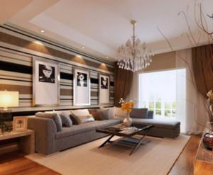 90平现代简约客厅吊灯装修效果图