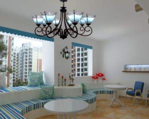地中海风格客厅吊灯装修效果图
