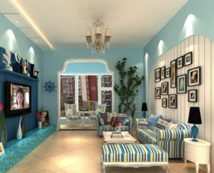 90平地中海风格客厅吊灯装修布置效果图