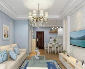 90平地中海风格客厅吊灯装修设计效果图
