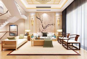 中式别墅复式客厅效果图