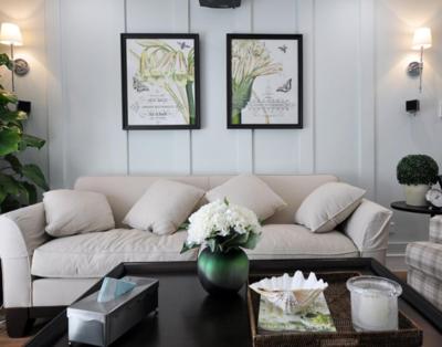 90平现代客厅沙发布置效果图