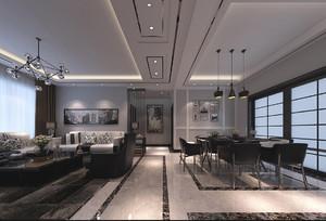 现代黑白灰客厅效果图