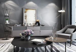 现代灰色系客厅装修效果图