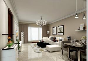 现代简约浅色系客厅装修效果图