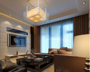 现代简约客厅窗帘装修效果图
