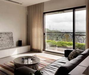 90平现代简约客厅窗帘装修效果图